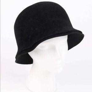 Vintage Chanel Black Felt Cloche Hat